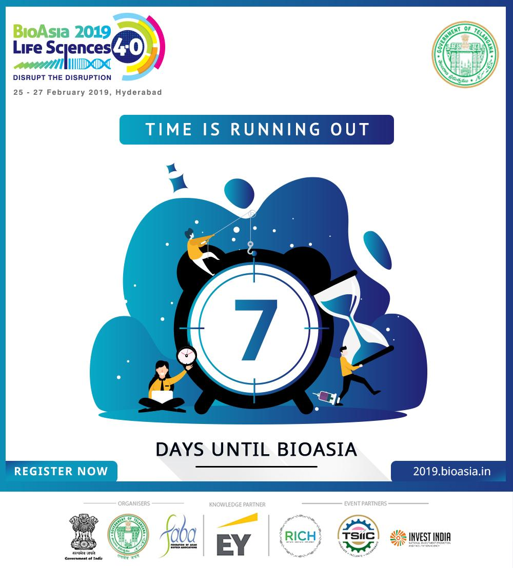 #7DaysToGo  We are just 7 days away from meeting a galaxy of established scientific leaders at #BioAsia2019. Register Now at http://bit.ly/2AFvggY & be a part of India's biggest #Lifesciences & #healthtech conference. #DisruptTheDisruption.