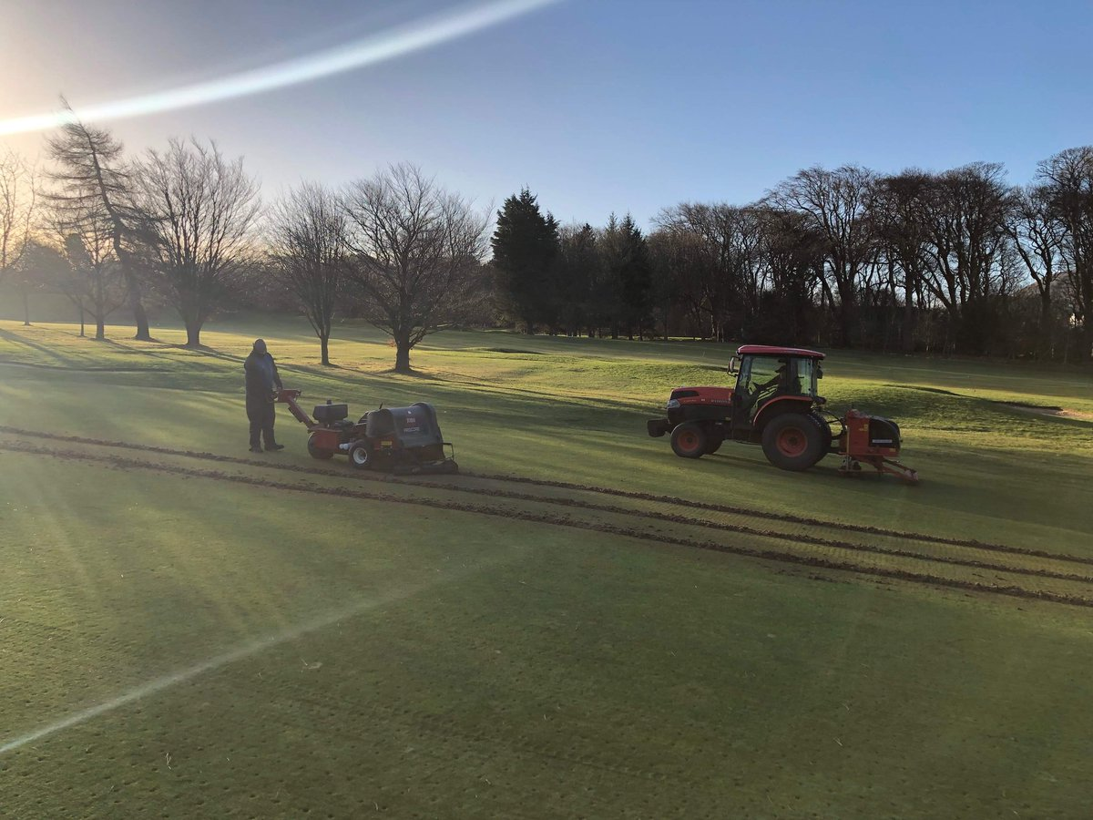 test Twitter Media - Getting a head start on coring today by verti draining and coring the 6 greens that are out of play due to the bunker project. https://t.co/bHU3yeem79