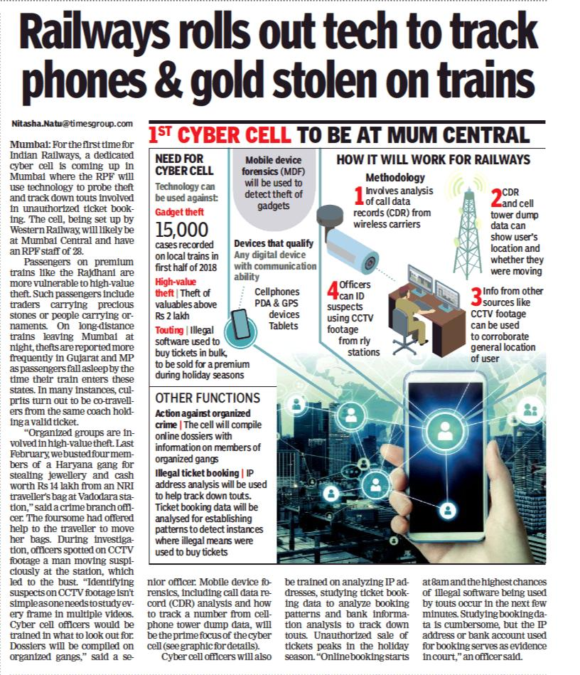 In a first, Railways is coming up with a cyber cell in Mumbai where the Railway Protection Force will use technology to probe thefts and track down touts. https://timesofindia.indiatimes.com/city/mumbai/railways-rolls-out-tech-to-track-phones-and-gold-stolen-on-trains/articleshow/68040241.cms…