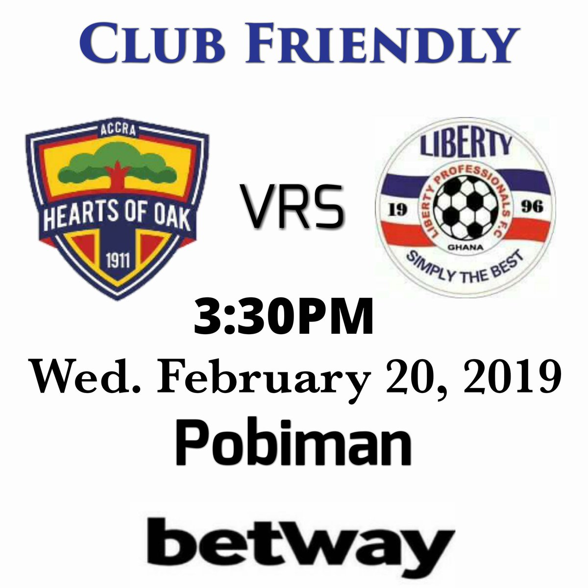 Up Next: We will engage @HeartsOfOakGH in a Friendly at their Pobiman training ground on Wednesday afternoon.  Kick off is 3:30pm.  🔵⚪🔴Simply The Best!