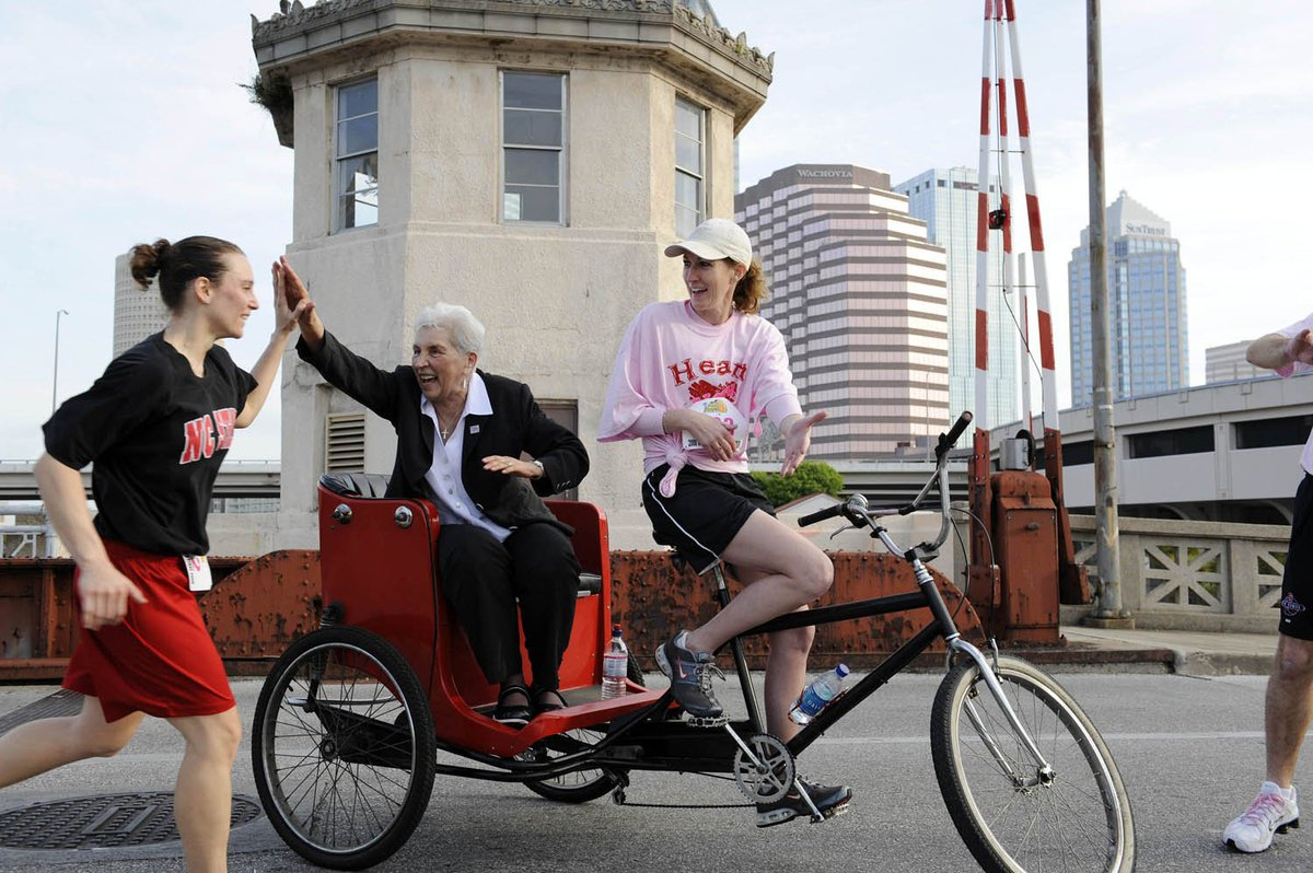 One of my most fav moments w/ @KayYowFund 2008 Tampa, the 1st #play4kay run.  I rode her around on the rickshaw for hours that morning.  The inspiration she provided to the runners equal to the motivation they gave back.  Really special moment with my coach.  @PackWomensBball