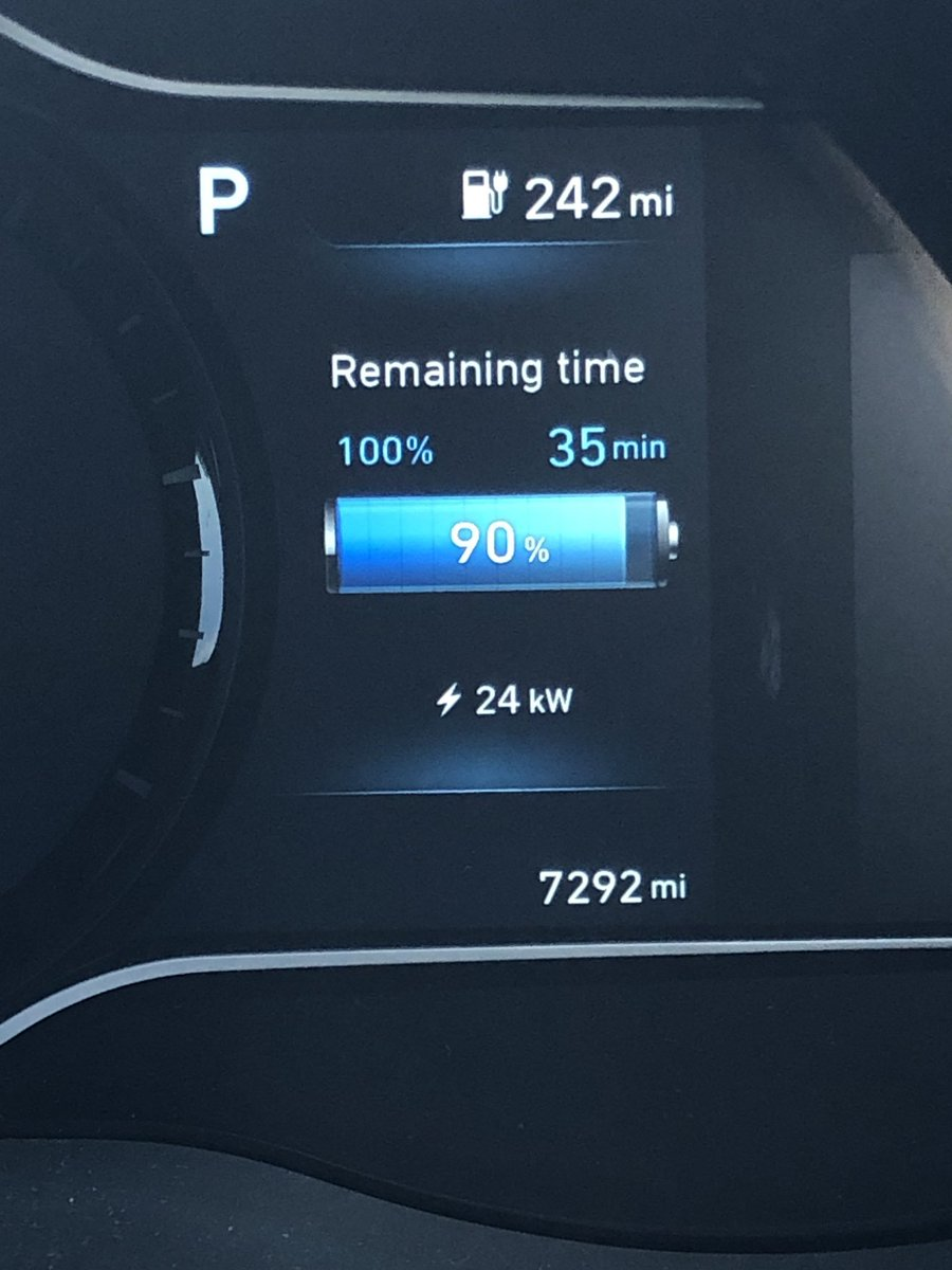 Coming from a 24kwh Leaf to a 64kwh kona it's really impressive to see it pulling over 20kw at 90%. What does your ev pull at 90% ??? Share your pics.