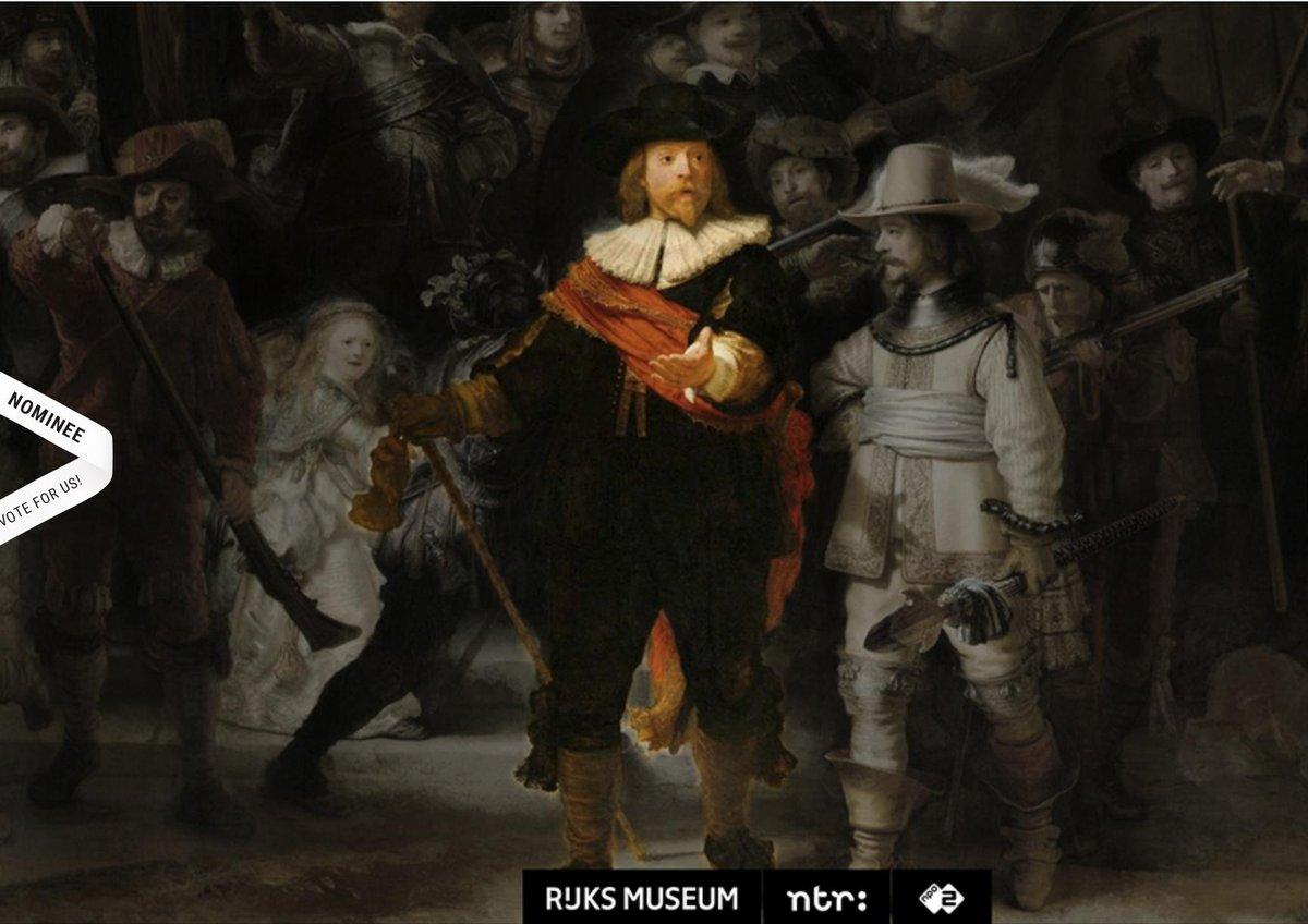 De website http://beleefdenachtwacht.nl is genomineerd voor Site of the Day bij @AWWWARDS 🎉 . Op de website, die de NTR samen met het @Rijksmuseum heeft gemaakt, kom je meer te weten over Rembrandts meest beroemde werk. Stem nu: https://www.awwwards.com/sites/experience-the-night-watch…