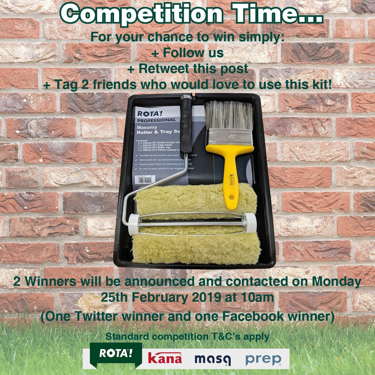 For your chance to win simply follow us, retweet this post and tag 2 friends who would love to use this masonry kit! 2 Winners will be announced and contacted on Monday 25th February 2019 at 10am (One Twitter winner and one Facebook winner) Good luck! #Competitiontime #masonry<br>http://pic.twitter.com/Ox6HYgUtqT