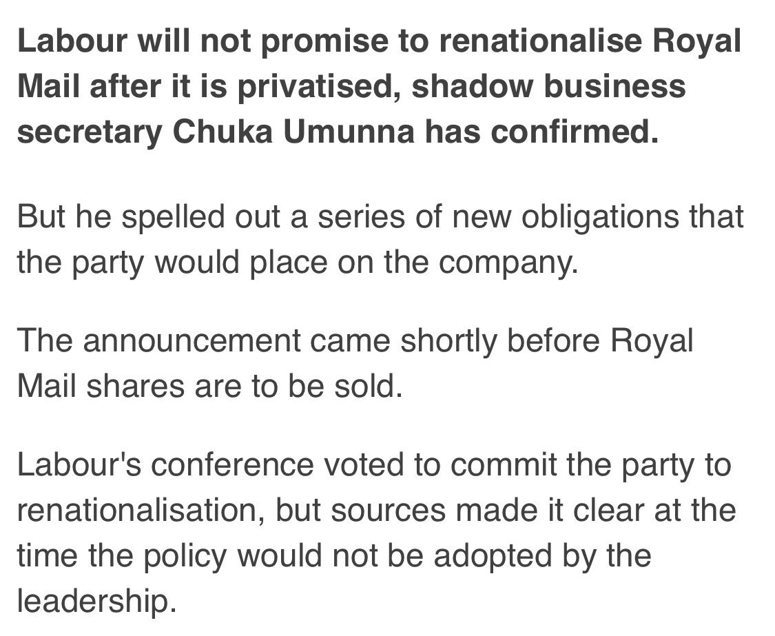 Chuka upset and claims Corbyn not following conference policy on #Brexit  In 2013 CWU policy to renationalise Royal Mail carried unanimously by Labour Conf  Minutes later shadow business Sec @ChukaUmunna ruled it out  He's right - labour has changed. For the better #LabourSplit