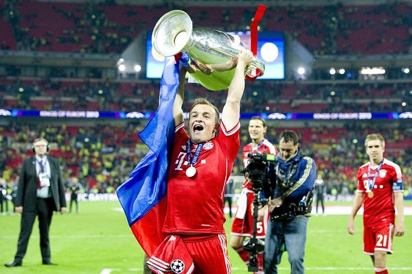 "Xherdan Shaqiri: ""I was very happy because I wanted to play against Bayern Munich, against my old teammates and my old team. I'm looking forward to the game. We won a lot of titles, we won the Champions League. We had the best team Bayern Munich had."""