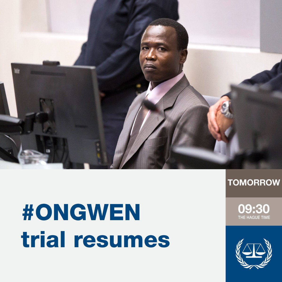 #ICC trial against Dominic #Ongwen resumes tomorrow at 9:30 (The Hague time) 📺 Watch the hearings via webstreaming (with a 30-minute delay): http://player.cdn.tv1.eu/statics/66005/icc.html?loc=CR1…