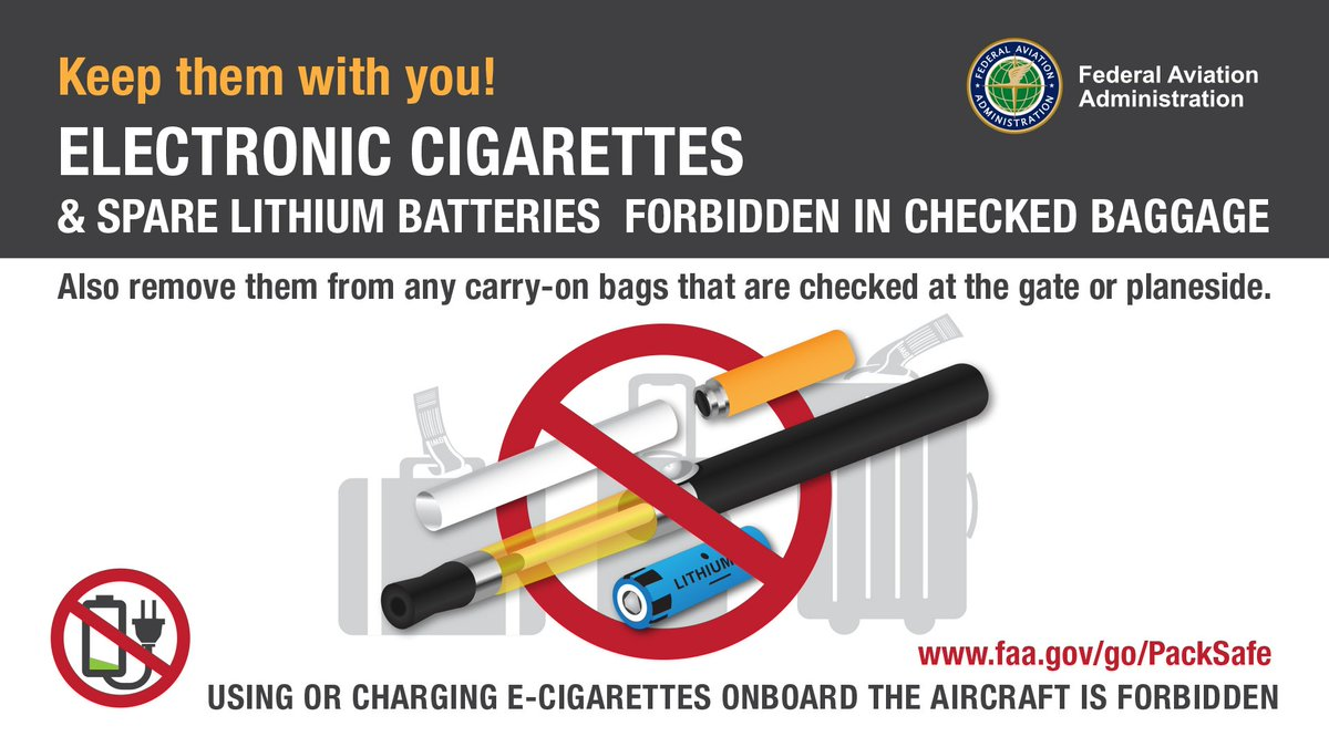 It's #NationalBatteryDay! #DYK that some items like #eCigs and spare lithium ion batteries are actually hazardous if packed in a checked bag? Learn more on how to #PackSafe at https://t.co/v2lGjOCw8b.