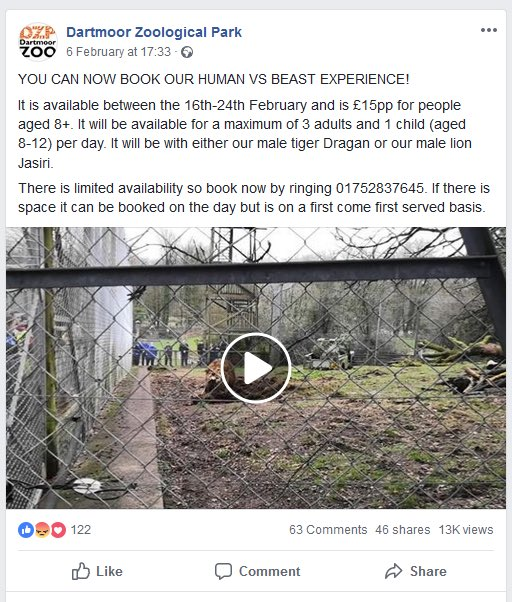 .@DartmoorZoo now promoting a 'human VS beast experience'. An outrageous breach of animal welfare. Please RT and tag @DartmoorZoo   @rickygervais