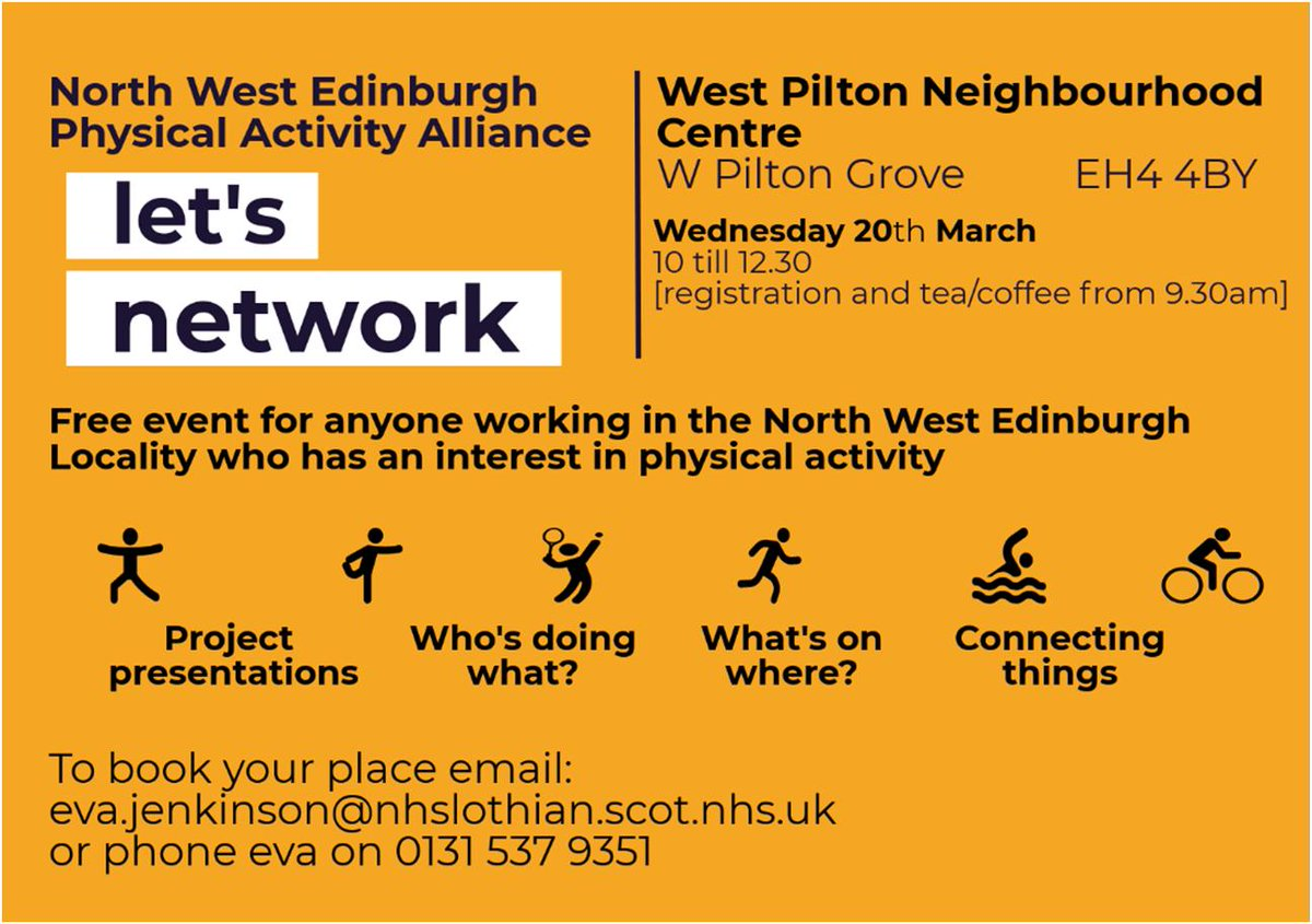For everyone working in North West Edinburgh with even the slightest interest in Physical Activity this Networking Event is for you! Sign up now! 🧘♀️🏊♂️🤸♀️🏃♀️🚴♂️🚶♂️🤸♂️🚴♀️🧘♂️🚶♀️#edinburgh #PhysicalActivity #networking