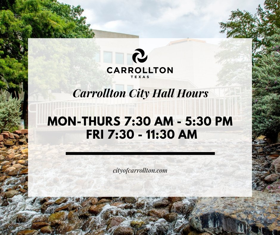 Headed to City Hall? Just a friendly reminder that office hours are always Monday-Thursday, 7:30 a.m. - 5:30 p.m. and Friday, 7:30 - 11:30 a.m.