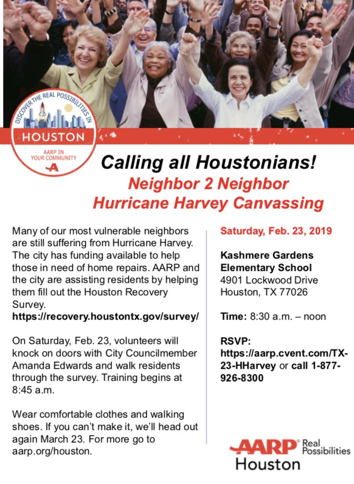 Calling All Volunteers: We are hosting a Hurricane Harvey Recovery Canvassing in Northeast Houston on Sat, Feb 23 from 9am - 12 pm.  We ask that you arrive at the staging location at 8:30am. Please call my office by Wednesday at 832.393.3012 if you would like to volunteer.