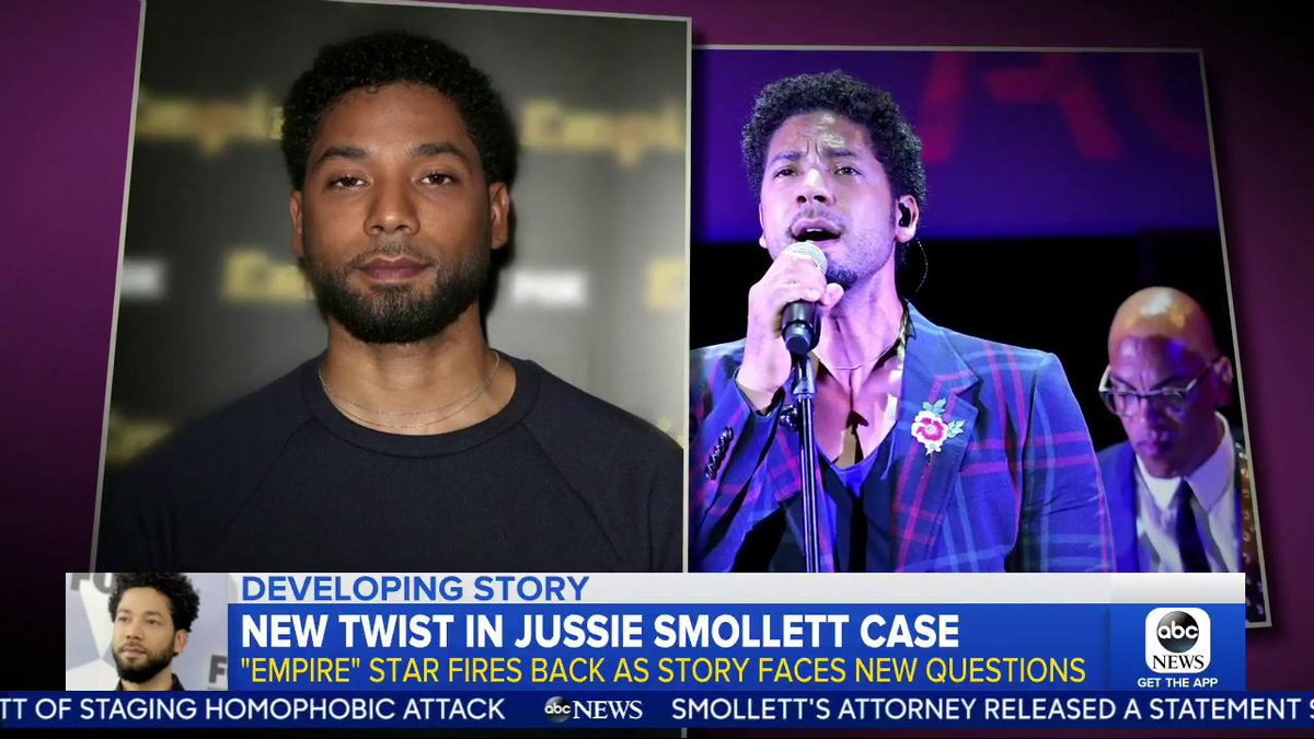 """""""Empire"""" star Jussie Smollett fires back as his story faces new questions. @EvaPilgrim is in Chicago with the shocking twist. https://gma.abc/2GwYW4w"""