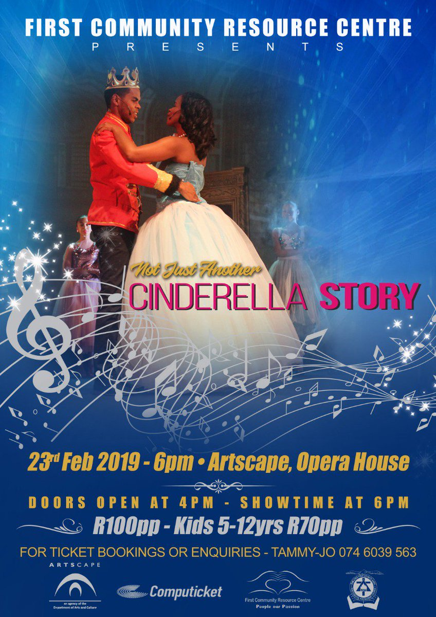 23 Feb 2019  Not just another Cinderella Story A production by the First Community Resource Centre, Not just another Cinderella story, is a spin on a beloved classic tale. A story about a young woman seeking true love so that she can be made whole. http://www.artscape.co.za/event/not-just-another-cinderella-story/…