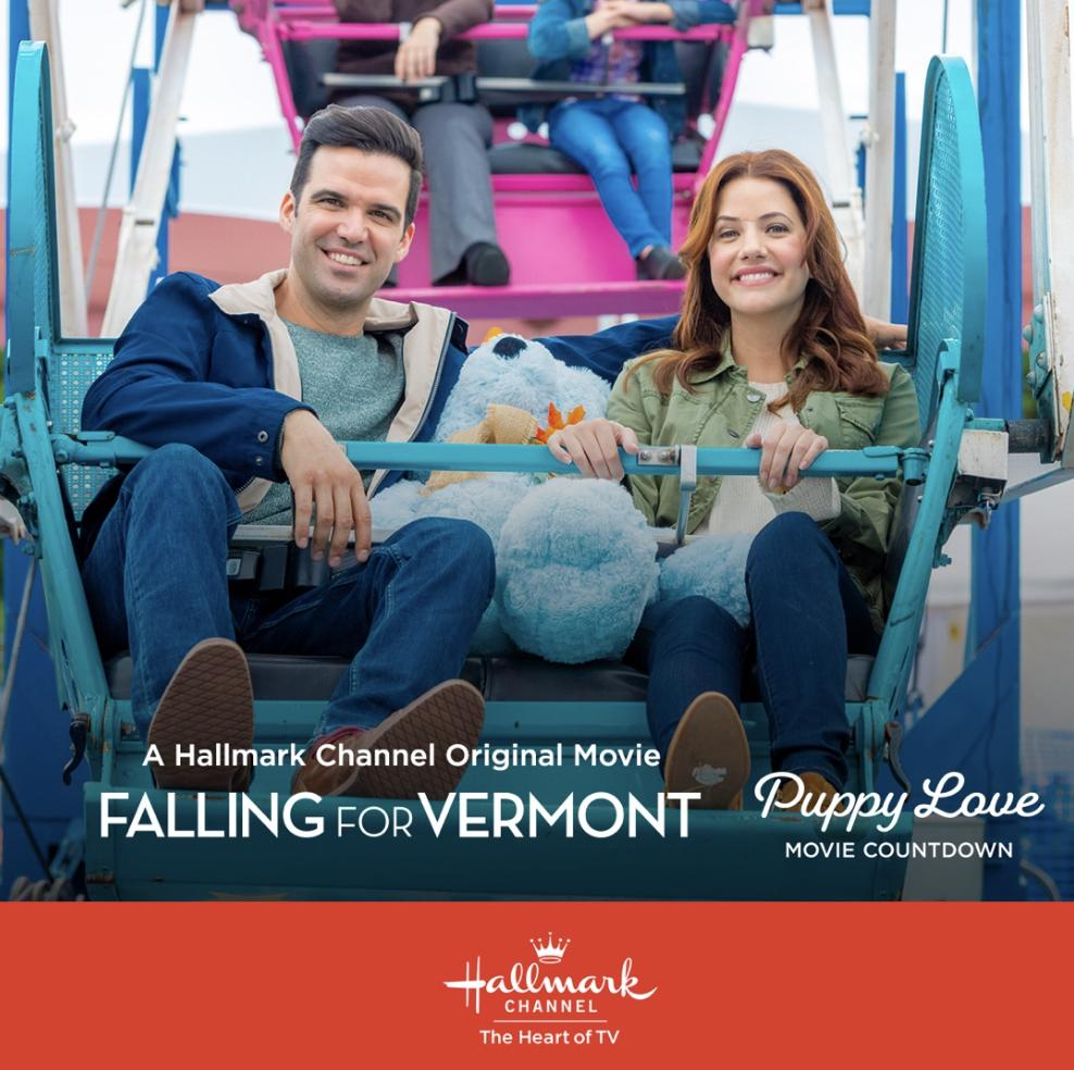 The Puppy Love Movie Countdown continues with #7 on the list! Tune in now East Coast to see @BenjaminAyres and @julie_gonzalo in #FallingForVermont.