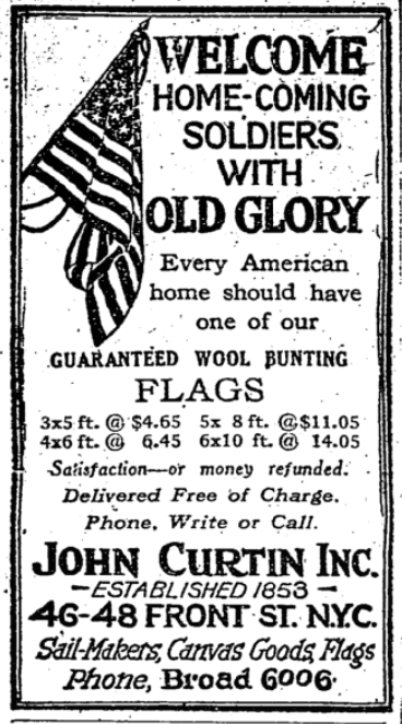 Feb 7, 1919 - New York Times: Sale on American flags to greet returning US troops #100yearsago