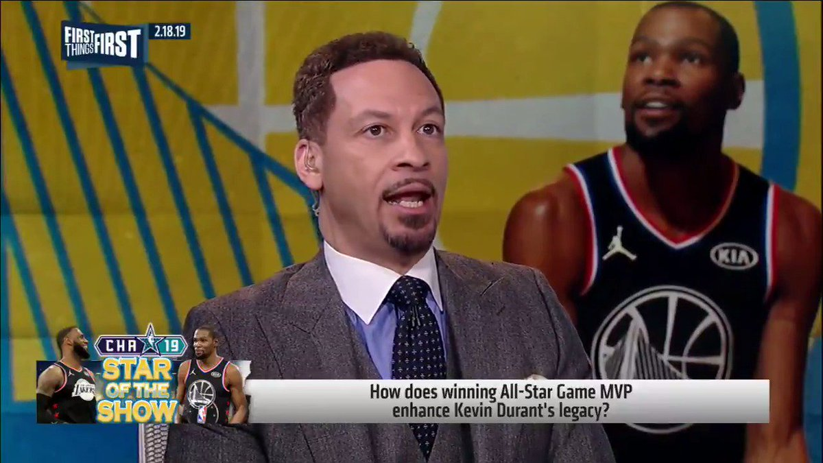 """""""KD: Stay in Golden State one more year, win your 4th-straight title. None of the guys ranked ahead of him have done this: Magic, Jordan, LeBron, Larry Bird. That would separate KD from his contemporaries and those before him. Then go to New York."""" — @Chris_Broussard"""