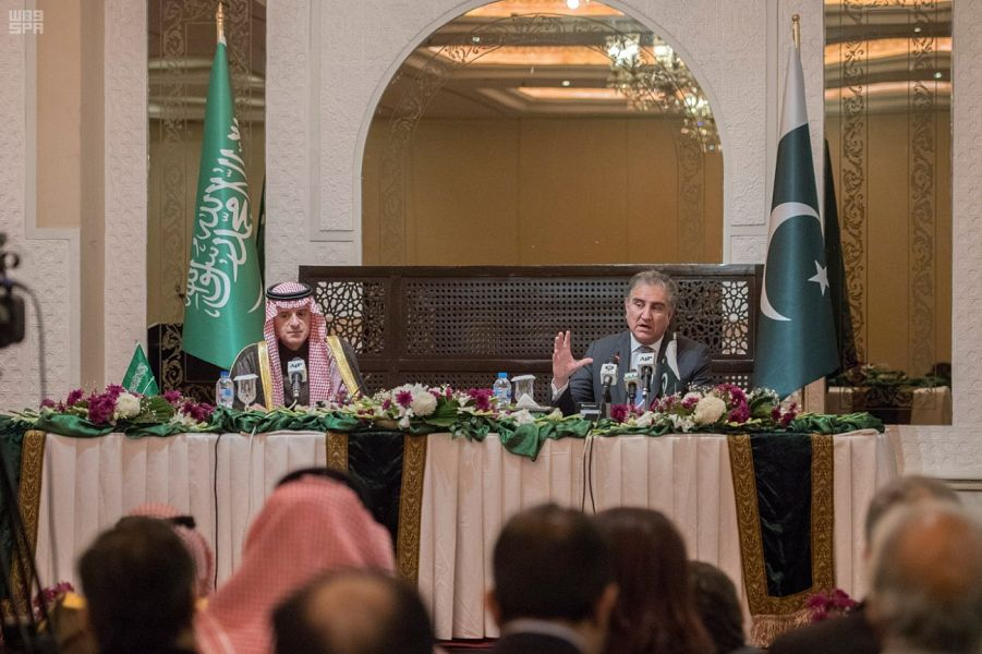 #Islamabad | Minister of State for Foreign Affairs @AdelAljubeir and Foreign Minister of #Pakistan @SMQureshiPTI held joint press conference  #CrownPrinceInPakistan