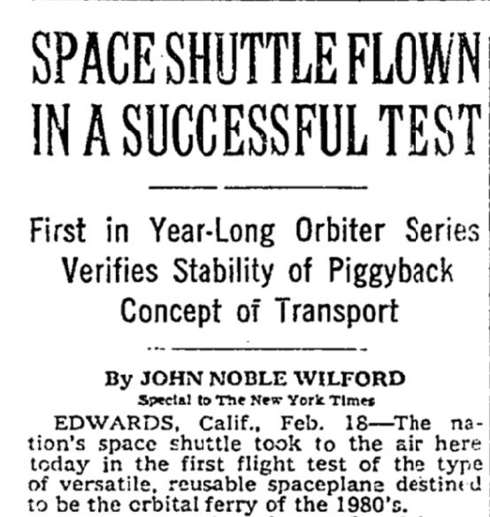 Today in 1977: The first space shuttle is flown in a successful test. The shuttle rode on the back of a Boeing 747 for more than two hours.  https://t.co/i4cRLOGLWj