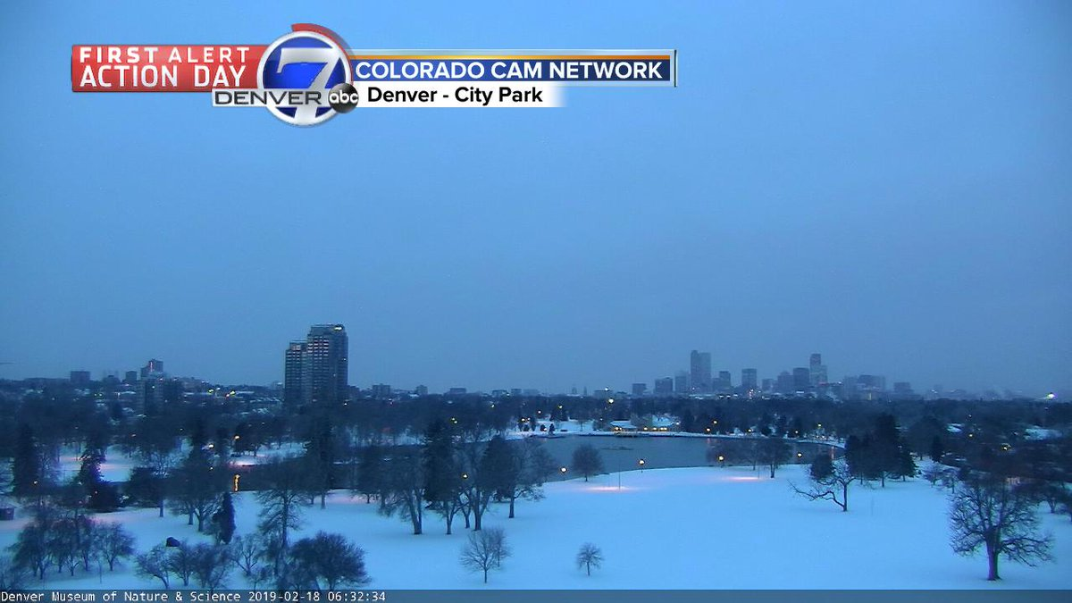 A snow covered City Park.  Light snow expected through early Tuesday morning.  Another 1 to 2 inches likely across the Denver metro area. #cowx  @DenverChannel