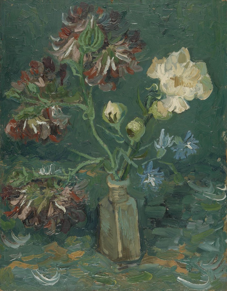 'He is mainly painting flowers, with the aim of making future pictures brighter in colour', wrote Theo about Vincent. Every week, acquaintances sent Van Gogh flowers. This was one of the first bouquets that he painted, many more would follow.  http://vangogh.nl/S0hb30netLq