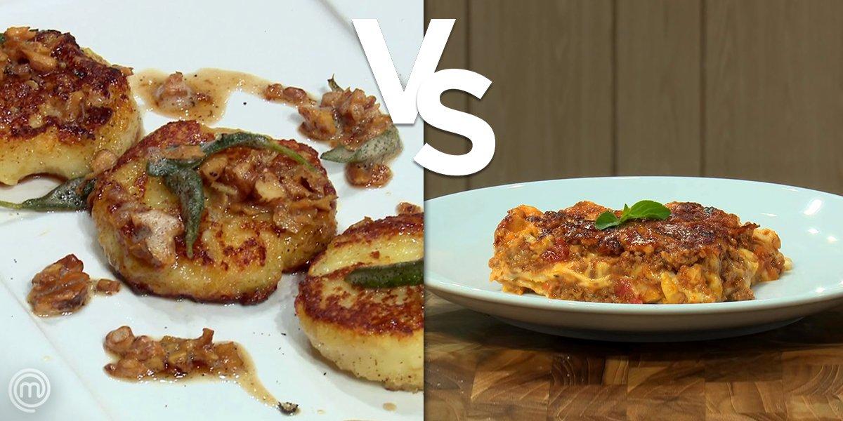#ALMOÇO de segunda-feira com DUAS MASSAS e UMA ESCOLHA 🍝👉 hoje você iria de lasanha... ou de gnocchi alla romana? 🤔  #MasterChefBR