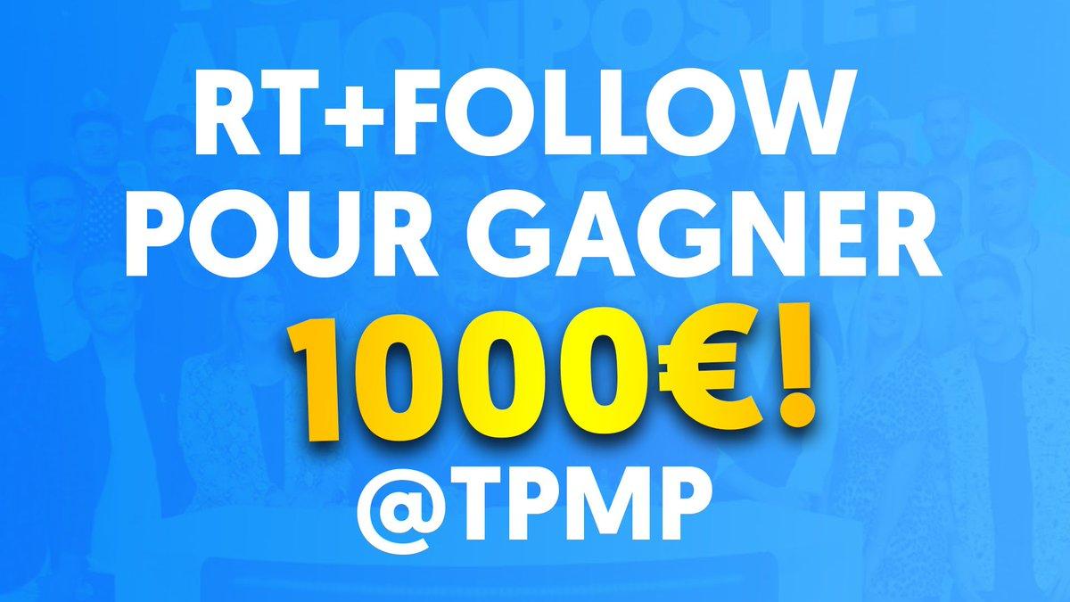 Les chéris, l'un d'entre vous va pouvoir tenter de gagner 1000 euros grâce à nos chroniqueurs ce soir dans #TPMP ! Pour participer RT + Follow @TPMP 😉 🍀 Tirage au sort juste avant #TPMP 🍀