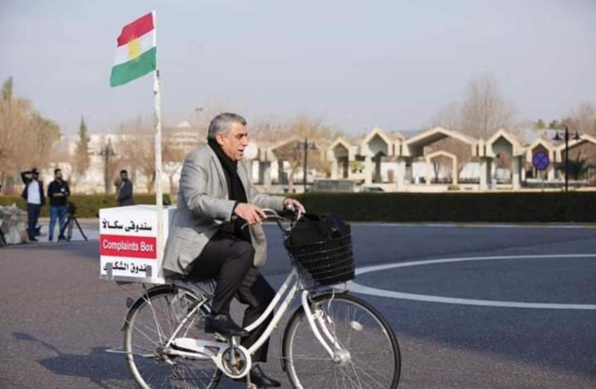 """#العراق #كردستان لأول مرة في منطقة الشرق الاوسط، عضو مجلس الشعب """"جلال بارشان"""" يذهب للبرلمان باستخدام دراجة هوائية"""