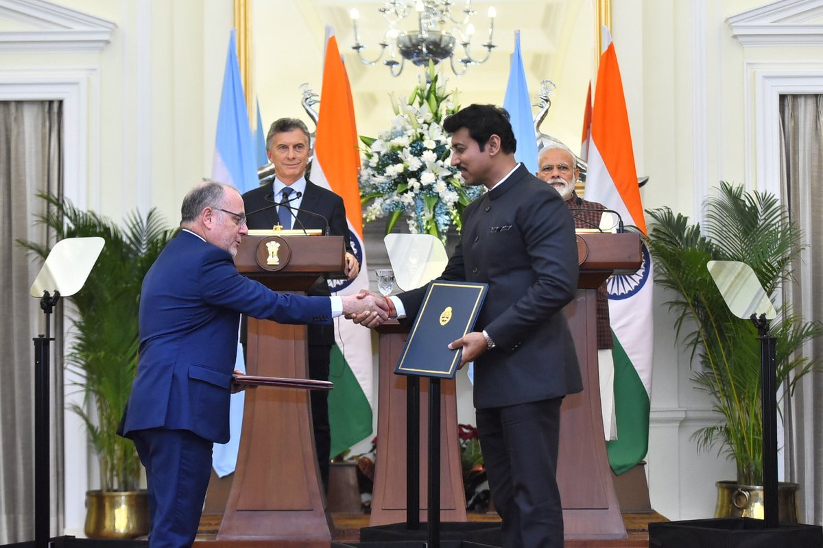 Today, ten MoUs were signed between India and Argentina.   Covering sectors such as defence, tourism, pharmaceuticals, agriculture, IT and civil nuclear cooperation, these agreements will further cement relations between our nations.  @mauriciomacri