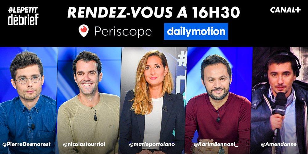 Rendez-vous à 16H30 sur #Periscope pour #LePetitDebrief de la @Ligue1Conforama avec une grande partie consacrée à la Ligue des Champions à J-1 d'#OLFCB ! 🔥🏆