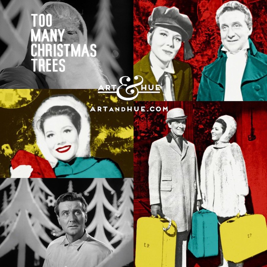 """On this day in 1965, this festive episode of The Avengers """"Too Many Christmas Trees"""" started filming at Elstree   http://artandhue.com/theavengers   #dianarigg #mrspeel #patrickmacnee #johnsteed #MadeAtElstree #OnThisDay #OTD #TheAvengers #chapeaumelonetbottesdecuir #TooManyChristmasTrees"""