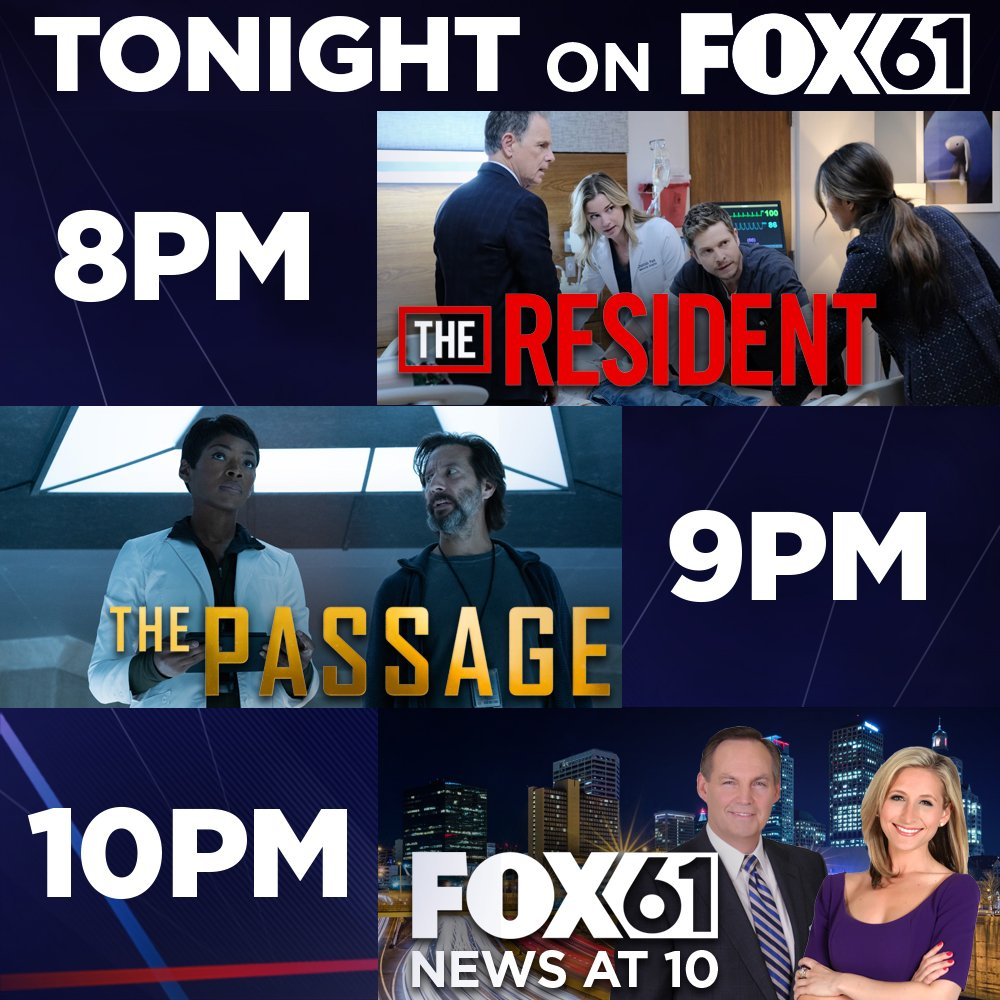 TONIGHT on FOX61: Bell's confidence in Quovadis continues to waver on an all new 'Resident'; Tensions are high with a viral on the loose on an all new 'Passage'! Then, tune into FOX61 at 10 p.m.!