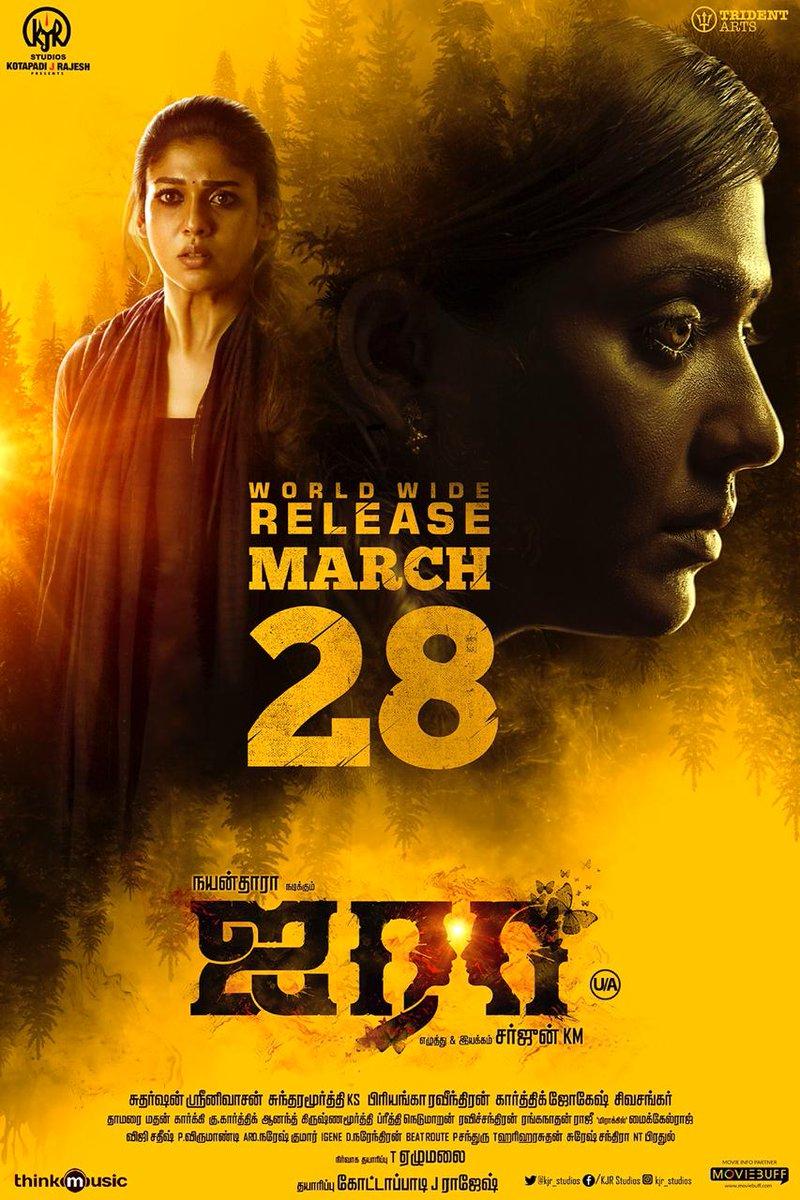 #Airaa has a release date! #AiraaOnMarch28  #Nayanthara @kjr_studios @sarjun34 @Priyankaravi20 @KalaiActor