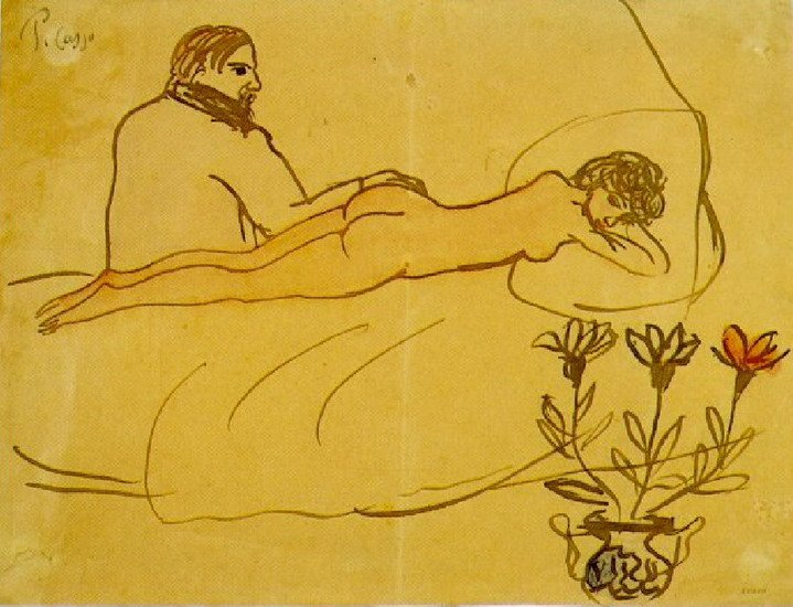 Пабло Пикассо. «Лежащая обнаженная и сидящий Пикассо». 1902 г.