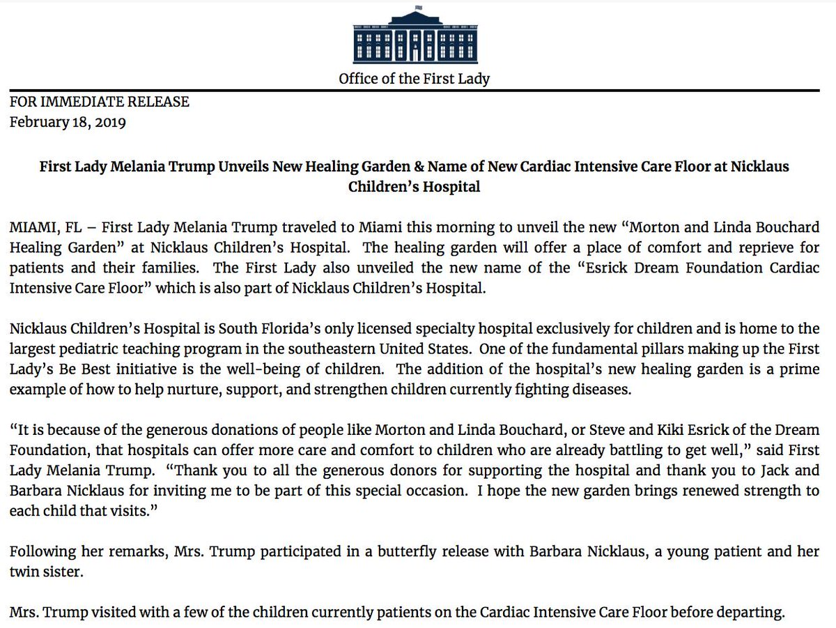 """NEW: First lady Melania Trump unveils """"Morton and Linda Bouchard Healing Garden"""" at Nicklaus Children's Hospital in Miami, Florida, White House says. https://abcn.ws/2DQccxe"""
