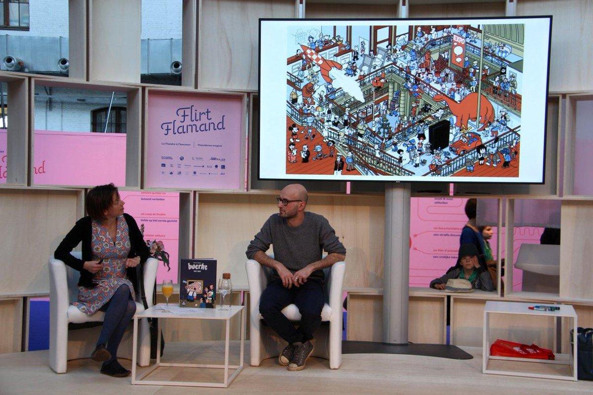 """Grand succès pour notre atelier """"Dickie"""" (@Dickiecomics) de ce dimanche avec Pieter de Poortere sur le stand """"Flirt Flamand"""" de la @foirelivrebxl . Tous les participants sont désormais capables de dessiner n'importe qu'elle œuvre d'art à la sauce Dickie !  (Photos: D. Fouss/CBBD)"""