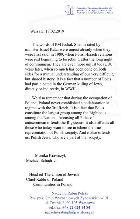 ***BREAKING NEWS*** Polish Jews in defense of @Poland against remarks by @Israel_katz . #SayNoToRacism .