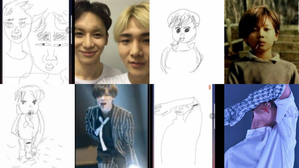 Lee Taemin really thought he did a good job of drawing these, and was praising himself so much. He actually said maybe he should do it more seriously  Baby cheese, both of us need to be reborn to draw well  <br>http://pic.twitter.com/zyOu299rlI