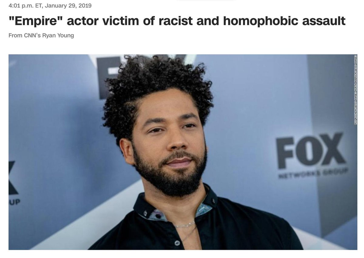 "Today, @brianstelter: ""There was a rush to judgment... mostly in the celebrity press... activists... Twitter people. I think it was a really careful reporting by news organizations."" CNN, January 29: ""Empire"" actor victim of racist and homophobic assault"" https://www.cnn.com/entertainment/live-news/jussie-smollett-attack/h_e13d3b8cbc839b04077e128e34cde9a6 …"