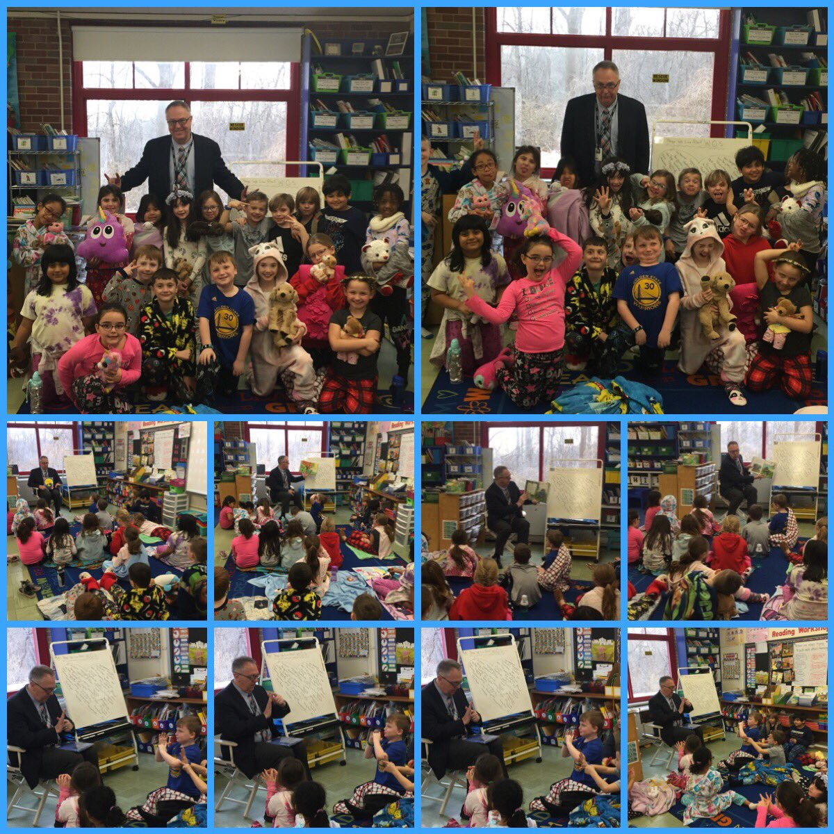 Friday 2/15/19 was the best Rockland Read In! Our Mystery Readers Ms. Incognoli & @SOCSD_Supt Dr. Pritchard read us some faves! We taught Dr. Pritchard how to star breathe when feeling sad or nervous. We enjoyed bagels with our books thanks to our class ambassadors! 🥯📚@WOSnews