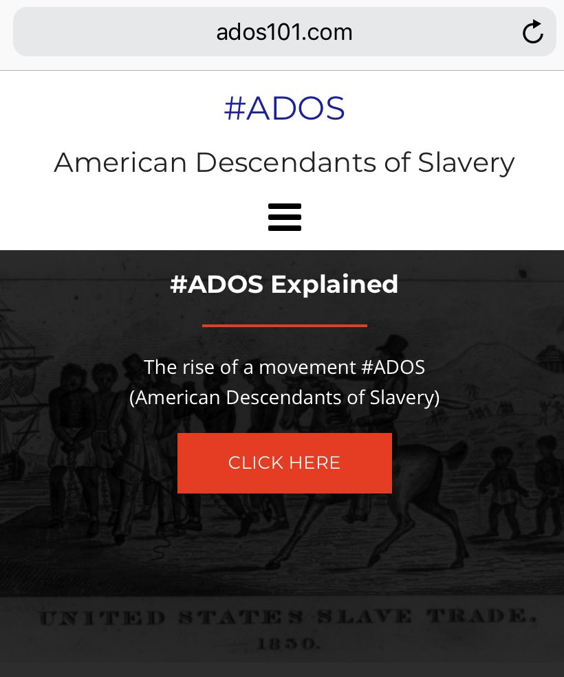 #ADOS official site is live http://www.ados101.com  Go to the site and learn about  #ADOS (American Descendants of Slavery), and our Black Agenda for Election 🗳 2020 and beyond.