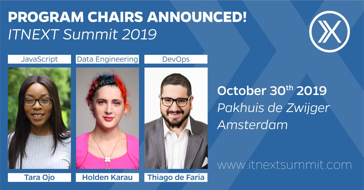 Hear hear! As of today the #ITNEXTSummit2019 #CFP (Call for Papers) is officially opened! We welcome the 3 Program Chairs: @tara_ojo (#Javascript), @holdenkarau (#DataEngineering) & @thiagoavadore (#DevOps)  Excited? Please submit here: https://sessionize.com/itnext-summit-2019/ …