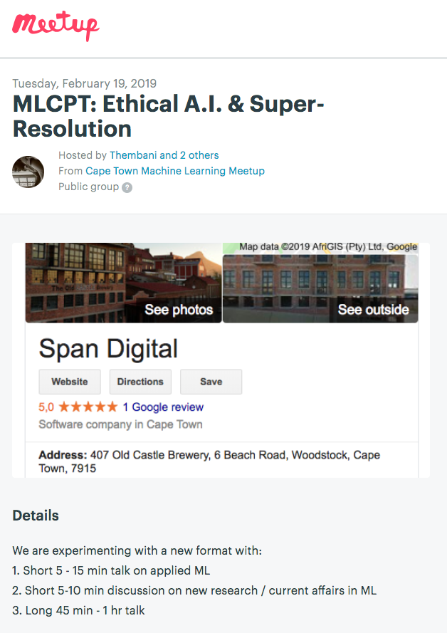 test Twitter Media - MACHINE LEARNING +CAPE TOWN + BEER + PIZZA! Come to the Machine Learning Meetup in Cape Town tomorrow in Woodstock (1830 Tuesday 19 Feb) with talks on Super Resolution and Ethical A.I. ... ALL WELCOME! :) https://t.co/5SkIn3QuQY #meetup #machinelearning #capetown #deeplearning https://t.co/NJdpL2EasQ