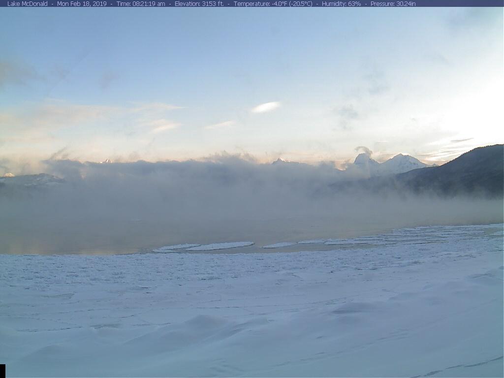 So cold in Glacier Park that Lake McDonald is causing steam fog this  morning. #MTwx #AnyoneUpForAQuickSwim