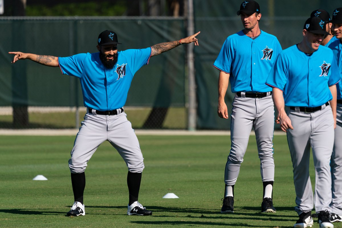 Full squad reports to #MarlinsST today.   Us: