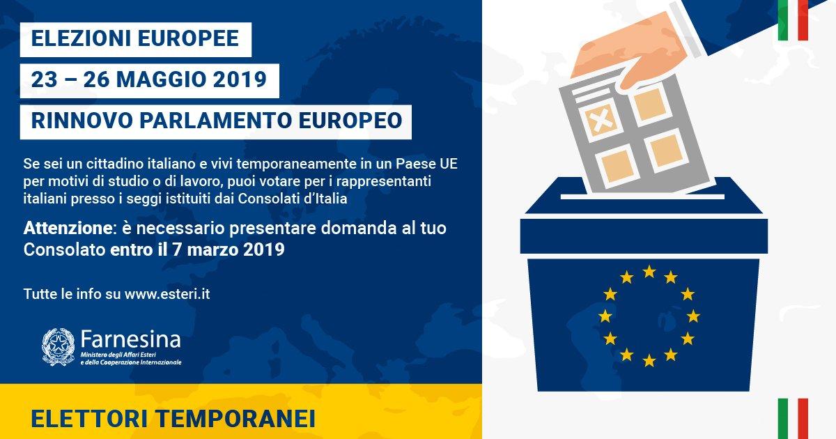 #Europee2019 | Se vivi temporaneamente in un Paese #UE per motivi di studio o lavoro puoi votare per i candidati italiani al #ParlamentoEuropeo presso i seggi istituiti dai Consolati.  🗓️Presenta domanda al Consolato di riferimento entro il 7 marzo:  https://t.co/8PLjWxtnKz
