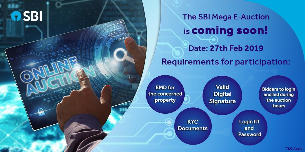 The exclusive SBI Mega E-Auction is coming to you on 27th Feb, 2019 and offers eligible bidders a wide range of over a 1000 residential and commercial properties across the country. For more details, visit https://bank.sbi/portal/web/home/bank-e-auctions…   #SBIAuction #RealEstate #Residential #Commercial