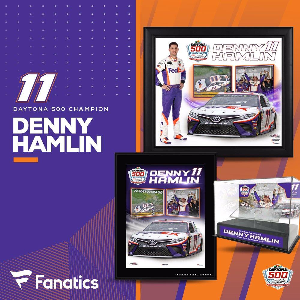 2x #Daytona500 Champion @dennyhamlin! New @DISupdates 🏁 collectibles @Fanatics - http://bit.ly/2TRbSF7  #DoItForJD | #FedEx11 #NASCAR | #TeamToyota