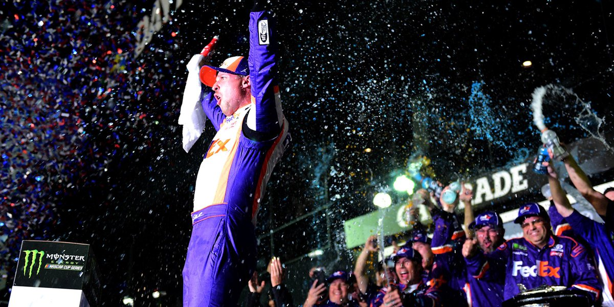 """""""It was just one of those days where I felt like it was meant to be,"""" - @dennyhamlin. #DoItForJD  Retweet to congratulate the 2️⃣ time #Daytona500 champ 🏁  Read More ➡️ http://ims.fans/indyfcd61"""