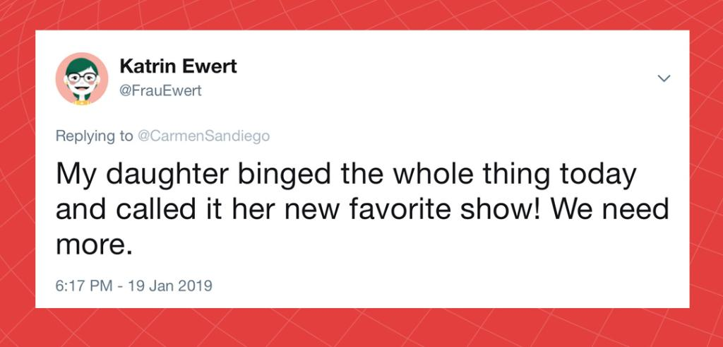 Luckily fans will get what they've been asking for - @Netflix confirmed Season 2 is coming! #CarmenSandiego #FollowtheFedora